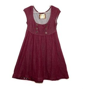 Free People Maroon Button Detail Smock Dress